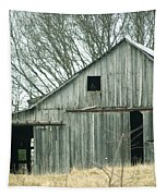 Weathered Barn In Winter Tapestry by Cricket Hackmann