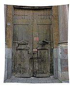Weathered Old Door On A Building In Palermo Sicily Tapestry