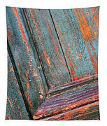 Weathered Orange And Turquoise Door Tapestry