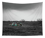 Weathered - Old Car In Texas Field Tapestry