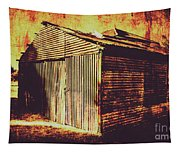 Weathered Vintage Rural Shed Tapestry