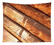 Weathered Wood Log Cabin Tapestry