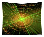 Weed Art Green And Golden Light Beams Tapestry