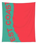 West Coast Pop Art - Coral Red On Teal  Tapestry