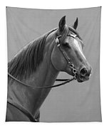 Western Quarter Horse Black And White Tapestry