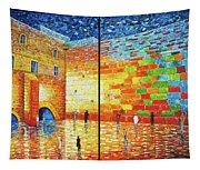 Western Wall Jerusalem Wailing Wall Acrylic Painting 2 Panels Tapestry