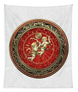 Western Zodiac - Golden Gemini - The Twins On White Leather Tapestry