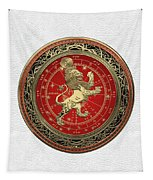 Western Zodiac - Golden Leo - The Lion On White Leather Tapestry