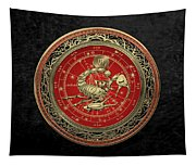 Western Zodiac - Golden Scorpio - The Scorpion On Black Velvet Tapestry