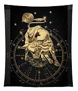 Western Zodiac - Golden Taurus - The Bull On Black Canvas Tapestry