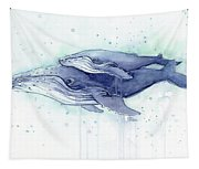 Whales Humpback Watercolor Mom And Baby Tapestry