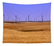 Wheat Fields And Wind Turbines Tapestry