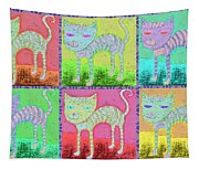 Whimsical Colorful Tabby Cat Pop Art Tapestry