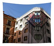 Whimsical Madrid - A Building Draped In Traditional Spanish Mantilla Tapestry