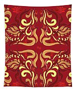 Whimsical Organic Pattern In Yellow And Red I Tapestry