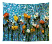 Whimsical Poppies On The Blue Wall Tapestry