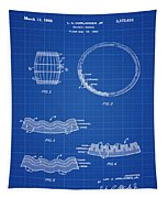 Whiskey Barrel Patent 1968 In Blue Print Tapestry