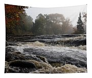 Whiskey River - Foggy Fall Waterscape Tapestry