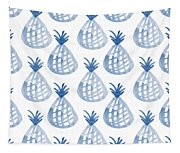White And Blue Pineapple Party Tapestry