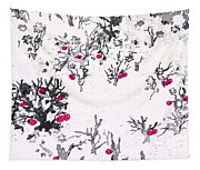 White As Snow With Cherries Tapestry