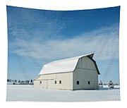 White Barn With Snow Tapestry