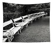 White Benches-  By Linda Wood Woods Tapestry