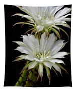 White Cactus Flowers Tapestry
