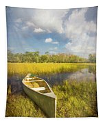 White Canoe Textured Painting Tapestry