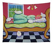 White Cats - Cat Napping Tapestry