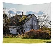 White Country Barn Tapestry