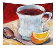 White Cup With Lemon Wedge And Spoon Grace Venditti Montreal Art Tapestry