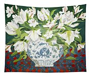 White Double Tulips And Alstroemerias Tapestry