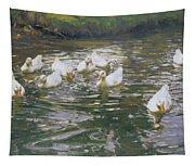 White Ducks On Water Tapestry