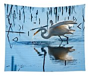 White Egret At Horicon Marsh Wisconsin Tapestry