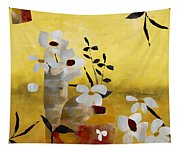 White Floral Collage II Tapestry