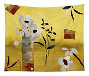 White Floral Collage Tapestry