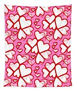White Hearts - Valentines Pattern Tapestry