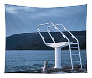 White Ladder Of A Diving Board At The Beach In Cres Tapestry
