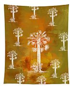 White Palms Gold Tapestry