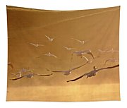 White Pelicans Flying Through Morning Mist Over River Tapestry