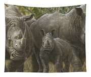 White Rhino Family - The Face That Only A Mother Could Love Tapestry