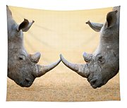White Rhinoceros  Head To Head Tapestry
