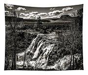 White River Falls Black  And White Tapestry