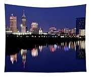 White River Reflects Indy Skyline Tapestry