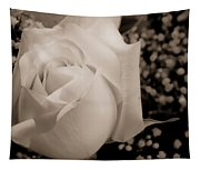 White Rose Bw Fine Art Photography Print Tapestry