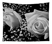 White Roses Bw Fine Art Photography Print Tapestry