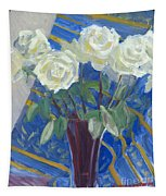 White Roses With Red And Blue Tapestry