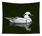 White Smew  Duck On Silver Pond Tapestry