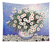 White Straw Flowers Two Tapestry