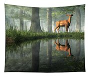 White Tailed Deer Reflected Tapestry